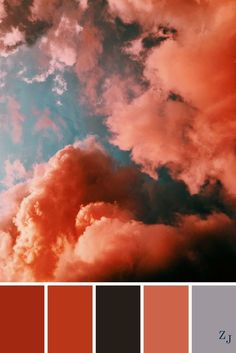 A popular color way currently. I don't think I have ever seen clouds close to these colors but this is ART! Color Schemes Colour Palettes, Colour Pallette, Color Palate, Color Combos, Pantone, Palette Pastel, Boutique Deco, Colour Board, Color Stories