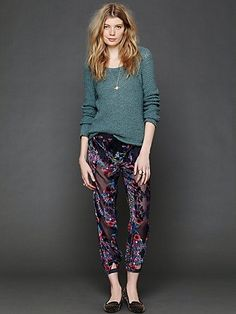 Loving velvet. http://www.freepeople.com/whats-new/printed-burnout-velvet-harem-lounge-pant/