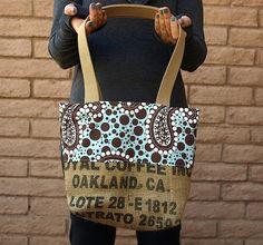 Burlap OAKLAND COFFEE Coffee Bean Bag Tote by ChellaBellaDesigns