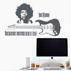 """""""Jimi Hendrix"""" considerado el mejor guitarrista eléctrico de la historia y uno de los músicos más importantes del siglo XX. Se entrega en una pieza de 240x56 cm #retovinilo #vinilosdecorativos #vinilo #musica #hendrix"""