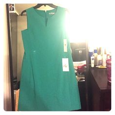 Green sheath dress Light green summery sleeveless sheath dress with slit by neckline. New with tags! Eliza J Dresses
