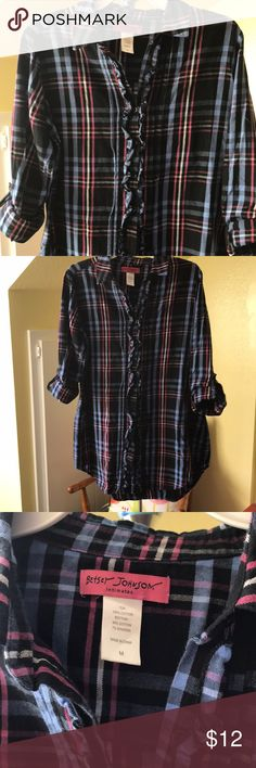 Betsey Johnson flannel shirt Excellent condition Betsey Johnson flannel button down shirt . The arms can be worn up as shown or down ..I believe originally it was a lounge top but my daughter wore it as a regular top and wore it with legging and it was super cute Betsey Johnson Tops Button Down Shirts