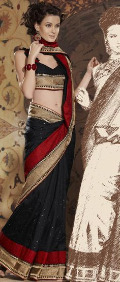 #Black Art Matka #Silk #Saree With #Blouse @ $109.37 | Shop Now @ http://www.utsavfashion.com/store/sarees-large.aspx?icode=skk13499a