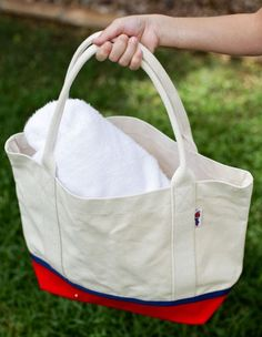 Canvas Boat Tote - Medium Red with Navy by Parrott Canvas ($10.48)