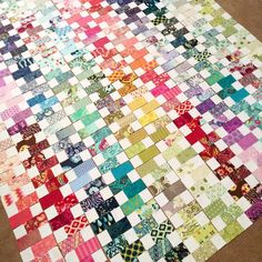 """""""Layout sorted, now to piece this quilt top together! @msmidge I used 209 different Tula Pink charm squares :) #aussiecharmswap #charmalong #tulapink…"""""""