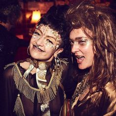 Me n one of my oldest mateys @lynflash at Monsta Gras a while back. Someone described this as 'mud coloured queens.' Very appropriate. Pic by my other favourite babe @lizhamdotcom  #mudbath #glama #monstagras #adhocwerkspace