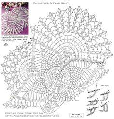 Pineapples+Doily-+Centrinho+Abacaxis.+Graf.+PRoseCrochet.jpg 1,050×1,093 pixels