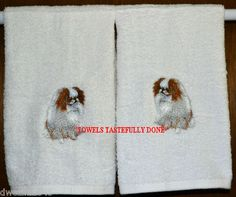 STUNNING REALISTIC JAPANESE CHIN - 2 EMBROIDERED HAND TOWELS by Susan