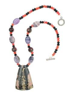 """Natural Huge 2 1/3"""" Pink Black Rhodochrosite Stone Chunky Pendant with Purple Gem Beads and Red & Black Firepolished Swarovski Crystals One of a Kind 18"""" Necklace Witch and Rich http://www.amazon.com/dp/B00R3OEPIO/ref=cm_sw_r_pi_dp_xH.jvb179G969"""