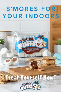 Apr 2020 - Life's more fun filled! Especially when you can make delectable s'mores indoors! Stuffed marshmallows filled with real milk chocolate that are great for toasting, roasting, baking and snacking. Cute Food, Good Food, Yummy Food, Yummy Treats, Sweet Treats, Desert Recipes, Just Desserts, Kids Meals, Food To Make
