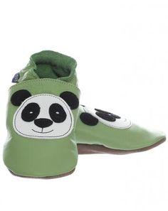 Krabbelschuhe PANDA in grün