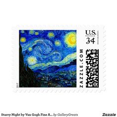 Starry Night by Van Gogh Fine Art Postage Stamp  #stamp #stamps #postage #postagestamp #usstamp #wedding #invitation #letter #rsvp #postcard #vangogh #starrynight