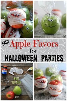 These Mummy and Monster Apples are easy, low-cost, and healthy Halloween treats for school parties. These Mummy and Monster Apples are easy, low-cost, and healthy Halloween treats for school parties. Halloween Snacks For Kids, Halloween Class Party, Healthy Halloween Treats, Halloween Treats For Kids, Halloween Favors, Easy Halloween Decorations, Halloween Ideas, Happy Halloween, Classroom Treats
