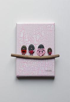 Tableau galets oiseaux bois flott fond rose saumon dessin for Tableau avec bois flotte