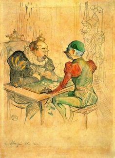 Le Bezigue by Toulouse-Lautrec. Order from DEKORAMI as a poster, canvas print, mural. Zamów jako obraz na płótnie, plakat lub fototapetę na DEKORAMI.pl.