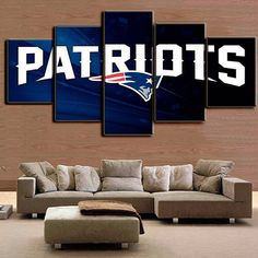 New England Patriots Wall Art Home Decor / NFL Patriots Sports Canvas Print / Gifts for Him / Football Wall Art / Man Cave Ideas