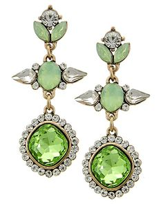 Antique Gold Tone / Green Glass & Clear Rhinestone / Lead&nickel Compliant / Post / Dangle / Earring Set