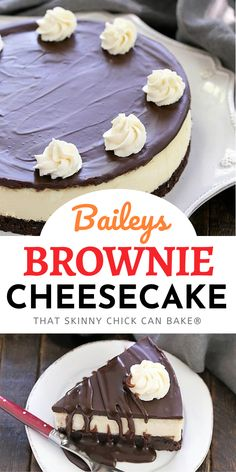 With a touch of the Irish, a double dose of chocolate and a luscious layer of cheesecake, this Baileys Brownie Cheesecake is out of this world! Brownie Cheesecake, Cheesecake Desserts, Köstliche Desserts, Dessert Recipes, Tart Recipes, Baking Recipes, Sweet Recipes, Cookie Recipes, Kitchen Recipes