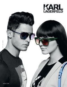 KARL LAGERFELD 2015 Eyewear Campaign featuring models Kendall Jenner and Baptiste Giabiconi