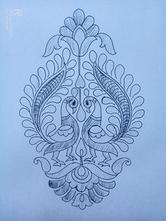 Peacock Embroidery Designs, Hand Embroidery Design Patterns, Hand Embroidery Videos, Hand Work Embroidery, Embroidery Motifs, Machine Embroidery Designs, Fabric Paint Designs, Stencil Designs, Fabric Painting