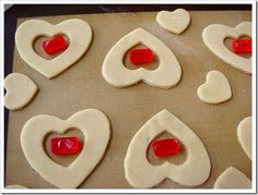 Here is a fun Valentine treat to make with kids and is easier than your traditional frosted sugar cookies. All you need is a good sugar cookie recipe, a package of Jolly Rancher hard candies and tw… Valentines Sweets, Valentines Day Cookies, Valentine Treats, Holiday Cookies, Summer Cookies, Birthday Cookies, Best Sugar Cookie Recipe, Sugar Cookie Frosting, Best Sugar Cookies