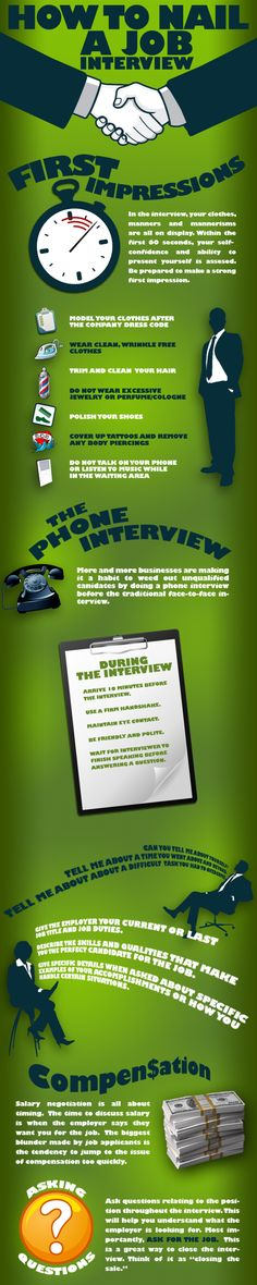 How to Nail a Job Interview - Infographic #careeradvice #jobinterview