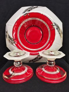 Vintage Indiana Glass Co. Moderne Classic Wheat Art Deco Red Platinum Bowl & Candle Holders Set 1930s by CompassionMatters502 on Etsy https://www.etsy.com/listing/268163868/vintage-indiana-glass-co-moderne-classic