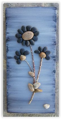 Crafts With Twigs Original pebble/rock art (beautiful bouquet of black flowers) handmade/reclaimed wood by CrawfordBunch on Etsy Stone Crafts, Rock Crafts, Diy And Crafts, Arts And Crafts, Decor Crafts, Nature Crafts, Crafts With Rocks, Beach Rocks Crafts, Wooden Crafts