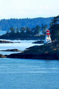 1 of the many beautiful coastlines on the ferry between Vancouver and Victoria Laundry Hacks, Vancouver Island, Golden Gate Bridge, British Columbia, Lighthouse, Places To Visit, Victoria, Canada, Travel