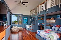 Shared kids' bedroom with a relaxing tropical style - Decoist