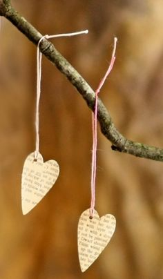 cute paper hearts hanging from branches