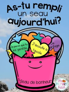 """$ Do you love the book """"Have You Filled a Bucket Today: A Guide To Daily Happiness For Kids?"""""""" by Carol McCloud? Did you know that there's a FRENCH version as well? Now French teachers can get their students into the bucket filling movement too :-) This 55+ page companion resource is filled with fun and engaging ideas specifically for primary and junior classes. Most are quick and hands-on activities that would be ideal to use by any French Immersion or Core French teacher."""