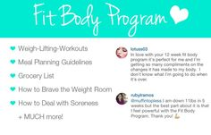 This Fit Body Program has lots of great workouts, nutrition guidelines and lots of other information to help you get fit and healthy! Check out the testimonials!