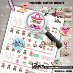 Donate Stickers, Printable Planner Stickers, Charity Stickers, Weekly Stickers, Erin Condren, Planner Accessories, Heart Stickers, Help, DIY