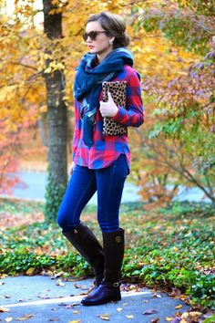 Plaid + Gingham, blanket scarf, leopard clutch and tory burch riding boots on For All Things Lovely www.forallthingslovely.com