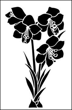 Amaryllis stencil from The Stencil Library GARDEN ROOM range. Buy stencils online. Stencil code GR43.