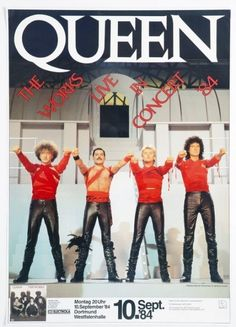 """September 1984 Queen Concert Poster (Image from music video """"Radio Ga-Ga"""") Tour Posters, Band Posters, Music Posters, Event Posters, Queen Poster, Vintage Concert Posters, A Kind Of Magic, We Are The Champions, Memes"""