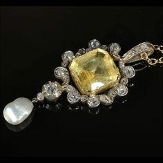 Natural+Yellow+Diamonds+Antique | Stunning Antique Victorian Yellow Sapphire, Diamond & Pearl Pendant ...