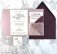 Burgundy and Misty Rose Lace Pocket Wedding Invitation