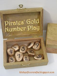 Kitchen Floor Crafts: Pirates' Gold Number Play (can adapt for music game) / Book Week 2018 ideas / could adapt to have Dewey numbers instead Preschool Pirate Theme, Pirate Activities, Activities For Kids, Crafts For Kids, Gruffalo Activities, Pirate Party Games, Motor Activities, Games For Preschoolers, Pirate Day