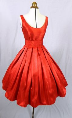 A Gorgeous Red Shantung 50s cocktail dress