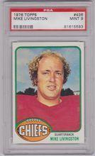 1976 Topps Football #436 Mike Livingston PSA 9 CHIEFS