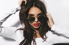 Red Lips + Chic Vintage Inspired Sunnies = a Chic Stylish Look OR Cool Selfie Idea!