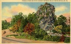 WEST VIRGINIA - PINNACLE ROCK - VINTAGE LINEN POSTCARD