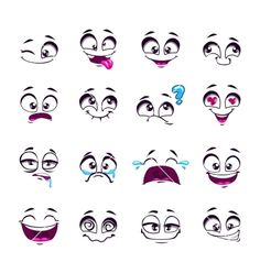 Drawing Eyes Expression Set of funny cartoon vector comic faces vector art illustration - Cartoon Faces Expressions, Funny Cartoon Faces, Drawing Cartoon Faces, Eye Expressions, Cartoon Eyes, Drawing Cartoons, Free Vector Graphics, Free Vector Art, Comic Faces