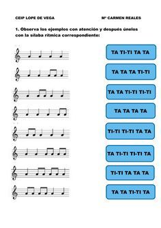 Silaba ritmica online worksheet for 3º. You can do the exercises online or download the worksheet as pdf. Elementary Music Lessons, Music Lessons For Kids, Music Lesson Plans, Music For Kids, Piano Lessons, Music Worksheets, Music School, Piano Teaching, Music Activities