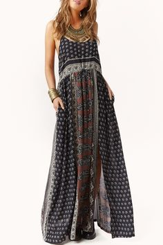 Printed Open Back High Slit Maxi Dress