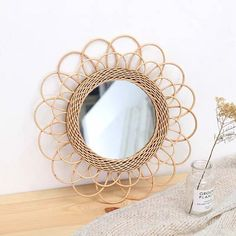 Visit the post for more. Rattan, Frames On Wall, Framed Wall, Wall Mirror, Mirror Hanging, Handmade Mirrors, Decorative Mirrors, Wall Nails, Lampe Decoration