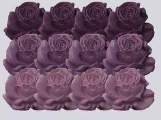 12 Purple Sugar Roses edible cupcake wedding cake decorations 4 COLOUR OPTIONS