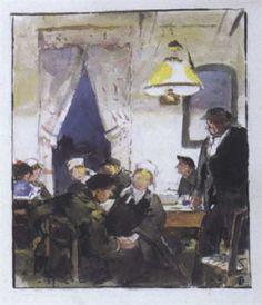 Lucien Simon 1861-1945 Au café,en Bretagne aquarelle et gouache 20.5x45